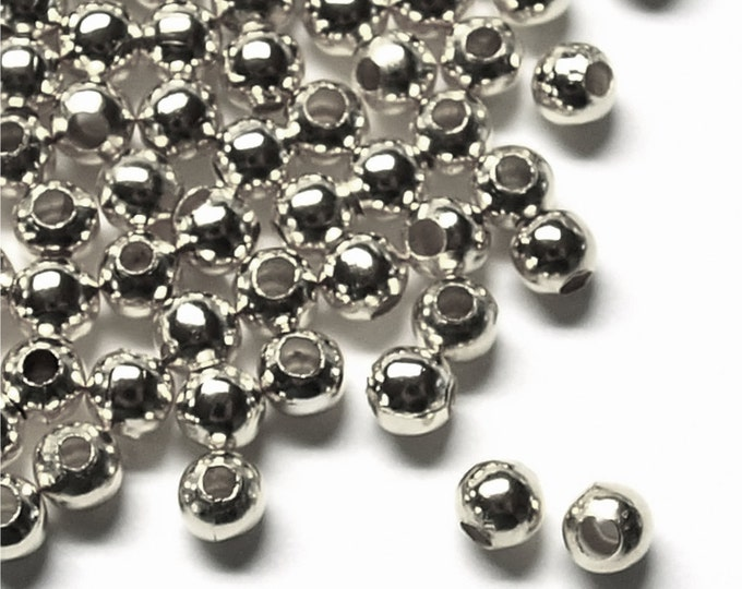Bead, Round, 3mm, Rhodium - 500 Pieces (BDBRP-RD30)
