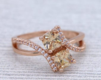 Rose Gold Two Stone Champagne CZ Promise Ring /Engagement Ring/Friendship Ring/Anniversary Ring/Sister Ring #1003