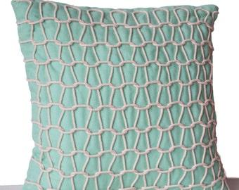Nautical Pillow, Teal Throw Pillow, Beach Decor, Hand Woven Dori Pillow, Beach Pillow, Handmade Pillow, Teal Ivory Pillow, Silk Pillow Cover