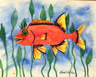 Fish painting folk art
