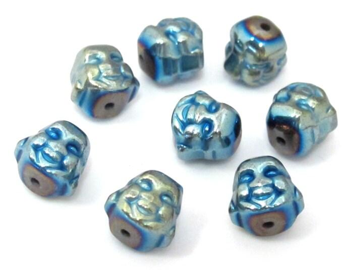 4 Beads  -  Laughing Buddha blue green titanium color plated hematite gemstone beads 8 mm - BD877