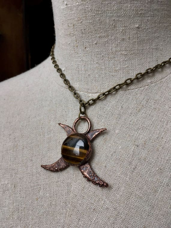 Electroformed Necklace, Electroformed jewelry, Moon Necklace, Copper Necklace, Statement Necklace, Boho Necklace, Gypsy Necklace