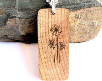 Dandelion Necklace, Engraved Wood, Sustainable, Maple Wood Jewelry, Flower Pendant by Hendywood