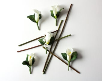 5 Calla Lily Boutonnieres White Real Touch Calla LIlies Set of Five and Groom's Boutonniere