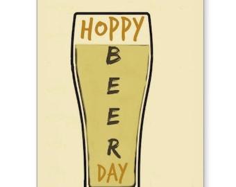 Hoppy Beer Day, Birthday Card, Funny Birthday Card, Card for Son, 40th Birthday Card, Beer Card, 21st Birthday, Card for Dad, Husband Card