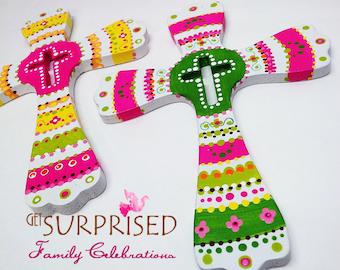 HANDPAINTED WOODEN CROSS, Green/Pink decorative wall hanging cross. Door hanger. Communion favor, wedding gift, baby crib kids room decor.