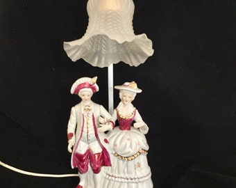 Courting Couple Colonial Lamp