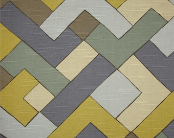 Two 26x 26 Custom Designer Decorative Pillow Covers- Euro Shams - Robert Allen Geometric Weaving - Citron/Tan/Taupe/Grey