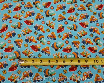 Let's Build Construction Dump Cemet Trucks on Blue BY YARDS Henry Glass Fabric