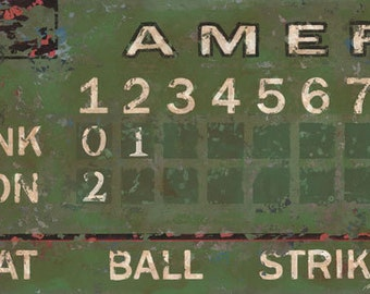Vintage Baseball Scoreboard Sports Art Canvas In Green By Aaron Christensen Perfect For