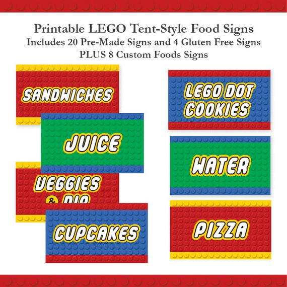 Building Block Birthday Buffet Labels And Dessert Table Signs