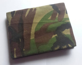 SALE: Photo album. 36 pockets for 6×4 photos. One of a kind cover from upcycled camo trousers. WAS 7.50