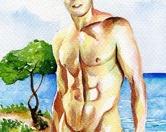 """PRINT Original Art Work Watercolor Painting Gay Male Nude """"From the sea"""""""
