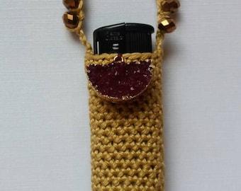 Ruby Druzy, handmade crochet lightercozy.