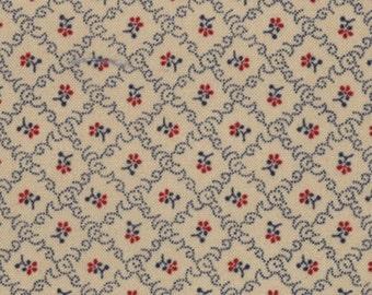 Moda OLD GLORY Gatherings Tan Floral Patriotic Primitive Gatherings Fabric 1077-12 BTY