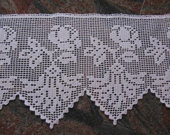 lace crocheted curtain,lace curtain,white kitchen curtain,crocheted cafe curtain,crocheted curtain with rose,custom curtain,kitchen valance