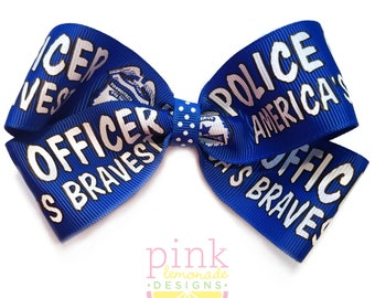 Large Police Officer Hair Bow