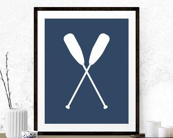Nautical Oars Nursery Printable, Oars Print, Printable Nursery, Beach Art Print, Nautical Print, Printable Oars Art, Muskoka Art, Navy Blue