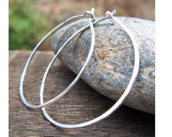 Sterling Silver Hoop Earrings, 1.25 inch, Sterling Silver Hoops, Hammered Hoops, Skinny Hoops, Argentium Sterling, Modern, Classic, Delicate