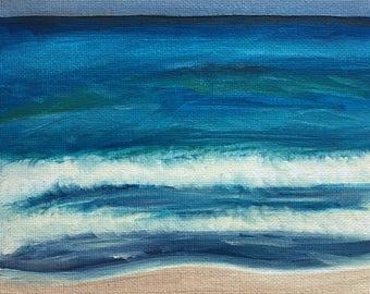 "Original Oil Painting, Ocean Seascape, 6 x 6"" Canvas Panel"