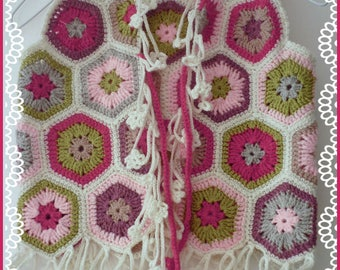 Kids fashion: Bohemian, hippie, crocheted Cardigan girl 5 years