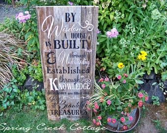 Rustic Signs, Word Art, Scripture Signs, Proverbs 24:3-4, Plank Sign, Wood Sign, Inspirational Art, Typography, Housewarming Gift