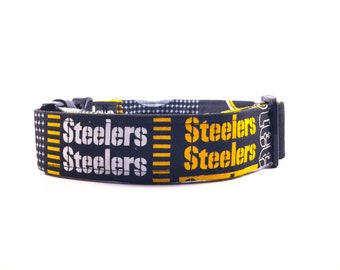 Pittsburgh Steeler Fabric Dog Collar - Buckle or Martingale - ANY TEAM AVAILABLE - Ask us!