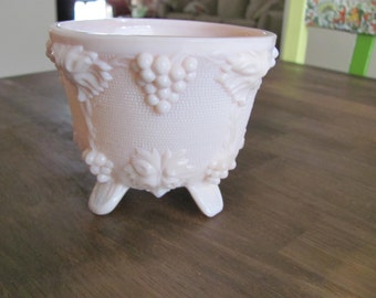 Pink Milk Glass Footed Candy Dish By JEANNETTE GLASS COMPANY