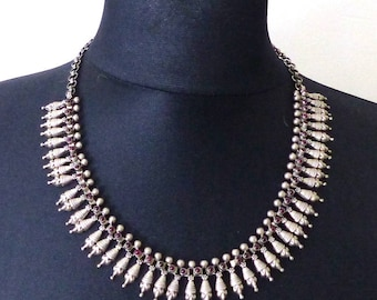 Vintage Rajasthani Indian Tribal Silver 925 Necklace Choker, Garnet gemstones. Free shipping worldwide!