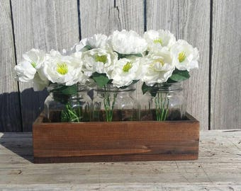 Rustic Box, 3 Mason Jar Wood Holder, Planter