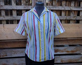 Vintage 1980s Shirtcraft white with primary color stripes short sleeve cotton poly blend shirt blouse