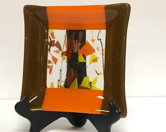 Fused Glass, Glass Plate, Fall Decor, Fused Glass Decor, Glass Plate