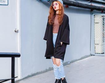 Women's Long Black Japan Kimono Cardigan, Noragi Coat, Oversized Street Haori Jacket, Winter Streetwear, Loose Style Yukata, Fall Overcoat