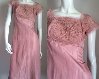 final sale -- Vintage 1950s Pink Blush Lace Wiggle Cocktail Dress