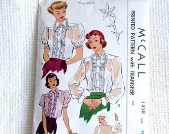 Vintage 1940's Woman's Blouse sewing pattern.   McCall.  Size 14, Bust Size 32.   No. 1458