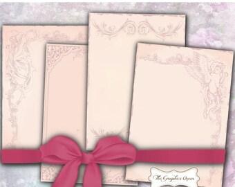 80% Off Spring Sale Shabby Chic Vintage Pink Digital Paper Art Nouveau Digital Background Digital Scrapbooking Supplies Instant Digital Down