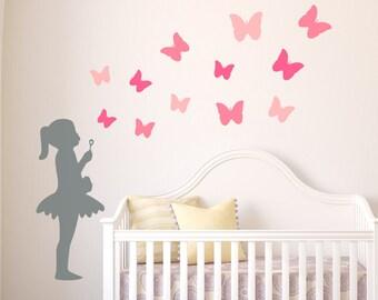 Ballerina Blowing Butterflies, Girls Room Wall Decal, Nursery Wall Stickers, Kids Wall Decals, Nursery Decals, Girls Wall Stickers