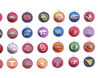 Round college charm, college pendant, necklace pendant, bracelet charm, add a charm