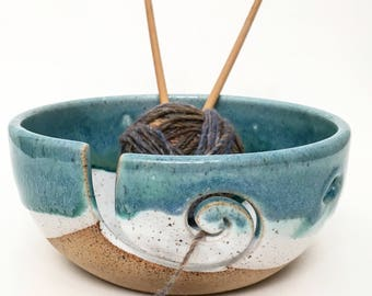 Mediterranean Breeze  - Wheel Thrown Yarn Bowl - MADE TO ORDER