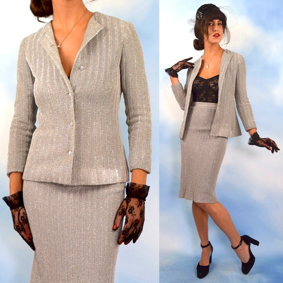 Vintage 1960s Oscar De La Renta Silver Lurex 2 Piece High Waisted Pencil Skirt and Tailored Jacket with Rhinestone Buttons (size xs)