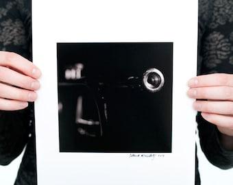Trumpet II Photograph (6 x 6 inch Fine Art Print) Black & White Music Photography Musical Wall Art