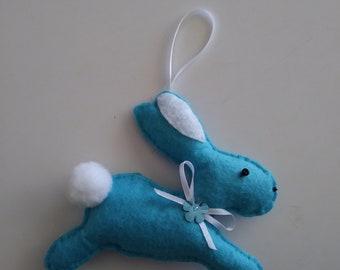 "Handmade Felt BLUE BUNNY Ornament 4""h x 4""w"