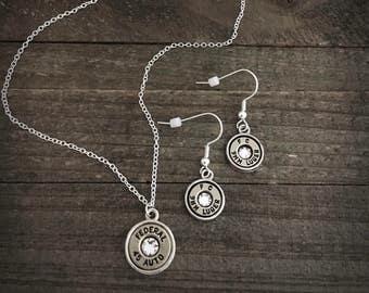 Bullet jewelry, bullet necklace, bullet earrings, Simple belle bullet jewelry dangle earrings set
