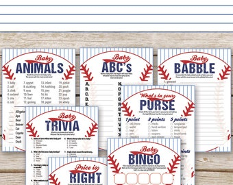 Baseball Baby Shower Games Package   SEVEN Printable Baby Shower Games:  Bingo, Price Is