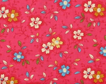 Teal, Yellow & Ivory Floral on a Bright Dark Pink 100% Cotton Quilt Fabric on Sale, Marshall Dry Goods, Yardage, MDGHappy09