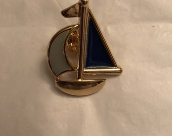 Gold Tone Boat Lapel Pin Tie Tack