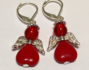 Red Angel Fairy Earrings - Czech Glass Beads Silver Plated Wings Christmas gift