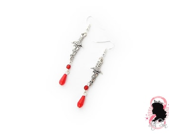 Antique Silver Dagger and Blood Drop Earrings, Antique Silver Dagger Earrings, Antique Silver Blood Drop Earrings, Silver Knife Earrings