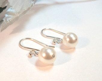 Pearl Earrings,  Bridal Earrings,  Bridesmaid Earrings, Clip On Earrings, Bridal Accessories, Bridesmaid Gift, Ivory Pearl, White Pearl