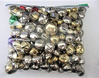 Craft Supplies ~  200+ Bells  Gold  Silver  some colored  Jingle  Multiple Sizes  Mixed lot
